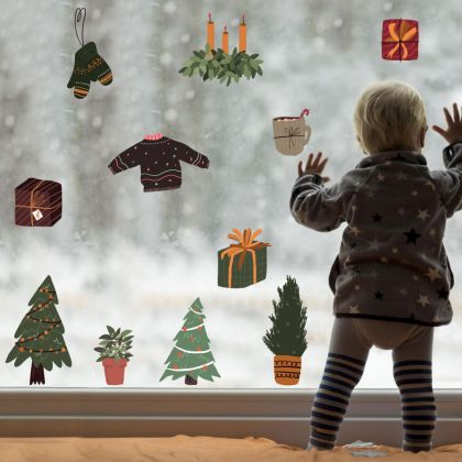 Christmas Decor Window Stickers, Christmas Tree Decor Window Decal for Christmas window decorations