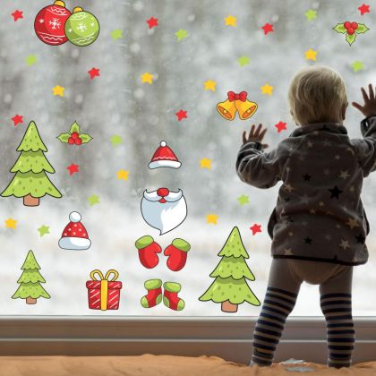 Christmas Decor Window Stickers, Christmas Tree Window Decal decor for Christmas