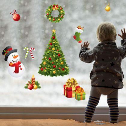 Christmas Decor Window Stickers, Christmas Tree Decor Window Decal for Christmas Home Decoration