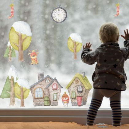 Winter Christmas Decor Window Stickers, Christmas Window Decal for Christmas Home Decoration