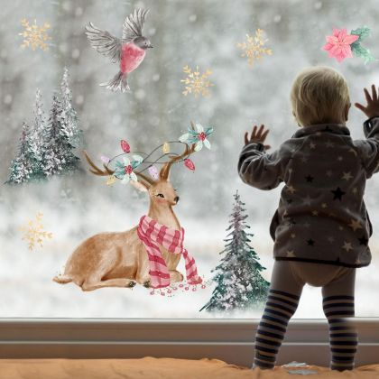 Christmas Decor Window Stickers, Christmas Tree Reindeer Window Decal for Christmas Decoration