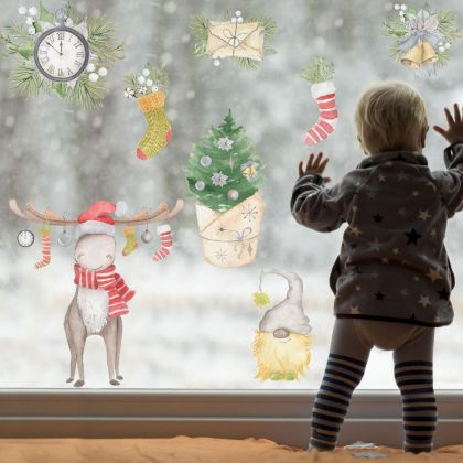 Christmas Decor Window Stickers, Christmas Window Decal decor for Christmas Home Decoration