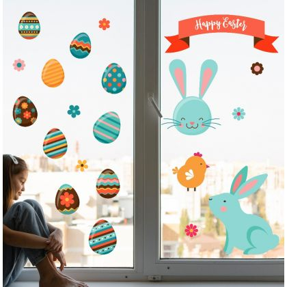 Easter Bunny  Window Stickers for Window Decoration, Easter Egg Stickers
