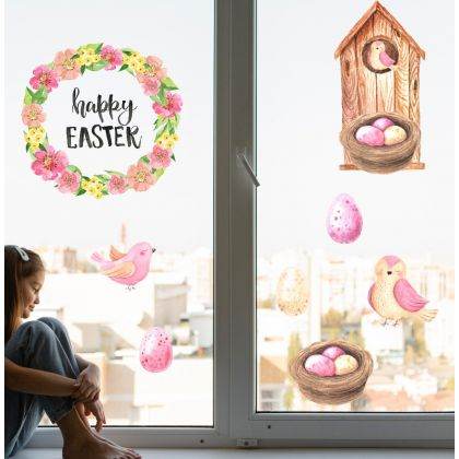 Watercolour Easter Window Decoration with Easter Eggs Window decor and Birdhouse with birds Window decor