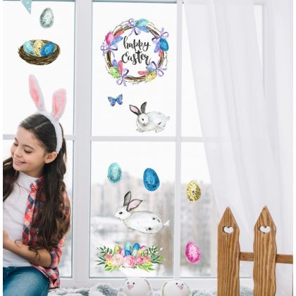 Watercolour Easter Wreath Window Decoration with Easter Eggs Window decor and Birdhouse with birds Window decor