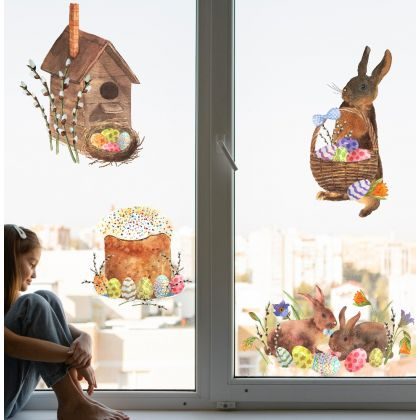 Easter Bunny with Eggs Window Stickers, Easter Eggs Window decor,Easter Window Decoration