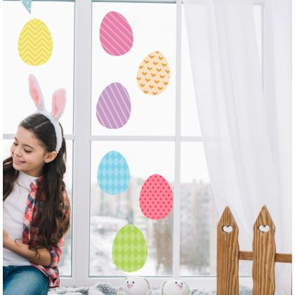 Multicolour Easter Egg Window Stickers for Window Decoration