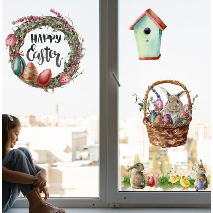 Watercolour Easter Window Stickers,Easter Bunny with Chicks Window decor,Easter Eggs Window Decoration
