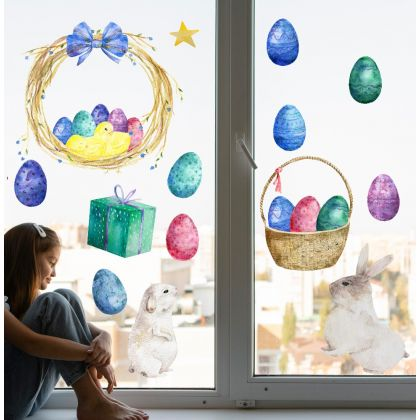 Watercolour Easter Window Decor Easter Eggs Window Stickers,Easter Bunny Window Decoration