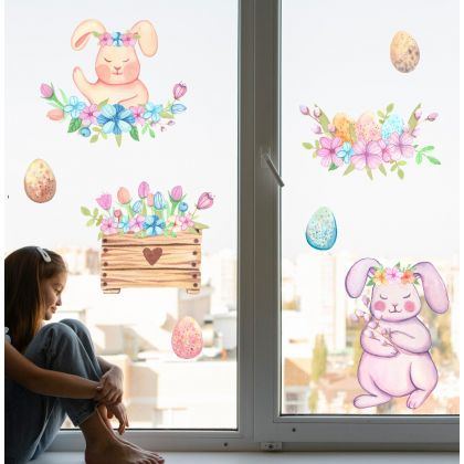 Watercolour Easter Window Stickers, Easter Eggs Window decor,Floral Bunny Window Decoration