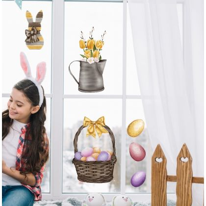 Easter Egg Window Decoration, Easter Eggs Window decor,Easter Bunny Window Stickers