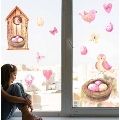Watercolour Pink Easter Window Stickers, Easter Eggs Window decor,Easter Birds Window Decoration