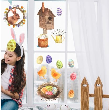 Easter Egg Nest Window Stickers, Easter Eggs Window decor,Easter Bunny Window Decoration