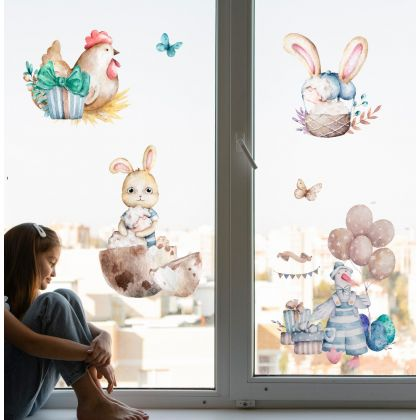 Watercolour Easter Window Stickers, Easter Eggs Window decor,Easter Bunny with Sheep Window Decoration
