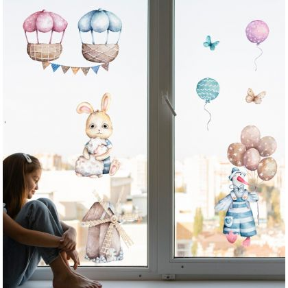 Watercolour Easter Parachute Window Stickers, Easter Eggs Window decor,Easter Bunny with Baloon Window Decoration