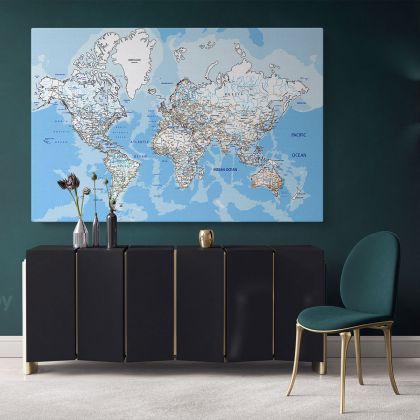 Official World Map Atlas Detailed Geography Political Canvas Print In Different Sizes Bedroom Living Room Artwork
