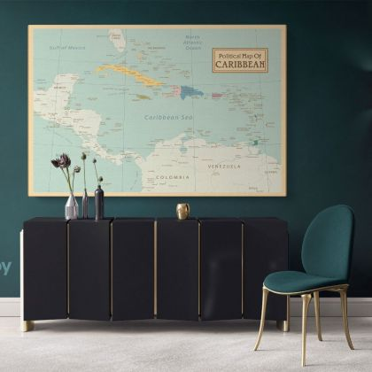 Official Political Map of Caribbean Canvas Giant World Map Atlas Geography Print In Different Sizes Living Room For Home Gift Mural Map Vintage