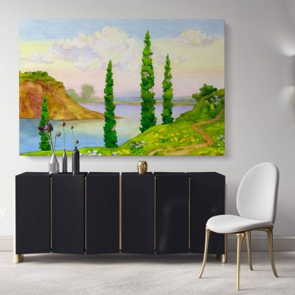 Landscape Canvas Watercolour Painting with Frame Trees Mountain Print on Canvas Wall Hangings Modern Wall Art Living Dining Room