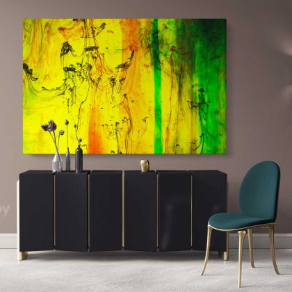 Modern Art Landscape Acrylic Bright Colors And Ink In Water Canvas with Frame Print Living Dining Modern Wall Hangings Mural Gift