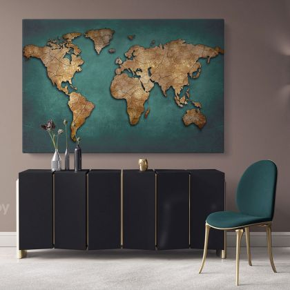 Modern Green with Gold Wall Art Map Large Canvas Nursery Kids Playroom Map Art