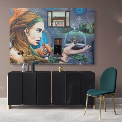 Girl Contemporary Abstract Street Digital Art Framed Premium Wrap Grafitti style Canvas / Roll Modern Print Poster Mural Gift Wall Hangings