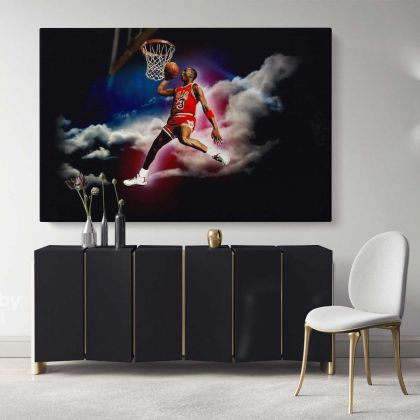 Basketball Player Michael Jordan Canvas with Frame/Rolled Canvas Kids Gaming Zone Home Decor Wall Art Mural Hanging Gift Sports Print Poster