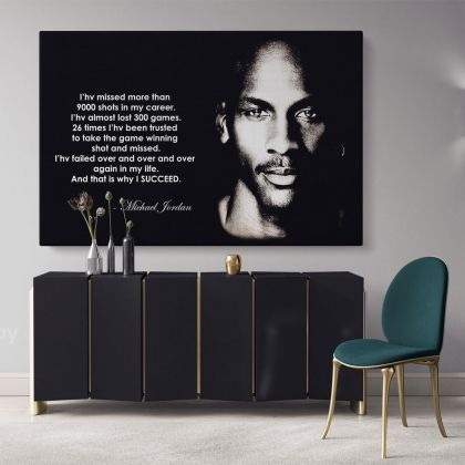 Michael Jordan Basketball Player Motivational Quote Canvas with Frame /Rolled Canvas Wall Art Mural Hangings Gift Sports Lovers Print Poster