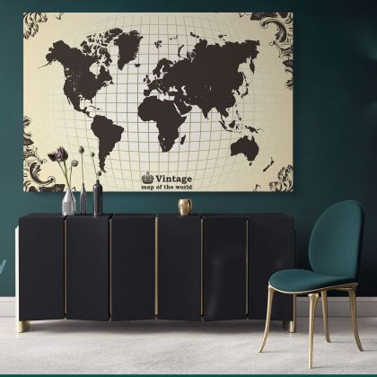 Vintage World Map Vintage Canvas with Frame World map For Wall art