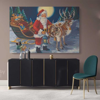 Santa Claus's Reindeer Vintage Winter Village Christmas Scene Wall Art Print Painting On Framed Canvas