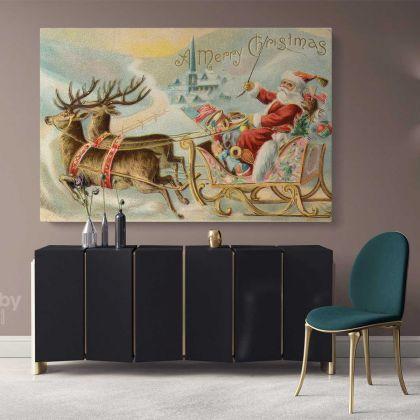 Santa Claus's Reindeer Vintage Winter Christmas Village Wall Art Print Painting On Framed Canvas