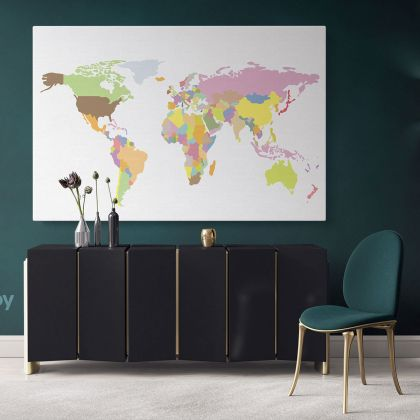 Large Bright Colorful World Map Playroom Wall Map Canvas Wall Art Canvas For Decor Home