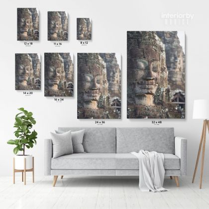 Buddha Carving Vintage Wall Art Canvas with Frame Poster Print Home Decoration Living Room Dining Modern Wall Decor Hangings Mural Art Gift