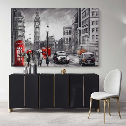 Oil Painting Street View London Black White & Red Artwork Canvas London Big Ben Print Poster Home Decor Bedroom Wall Hangings Mural Gifts