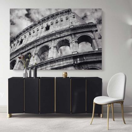 Stunning Black and White Colosseum Artwork Canvas Buildings and Cites Print Poster Living Room Home Decor Bedroom Wall Hangings Mural Gift