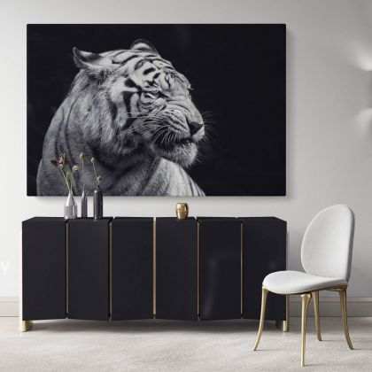 Tiger Large Black and White Photography Canvas Print Poster Love Wall Art Housewarming Gift Wild Animals Photo Wall Mural Hanging