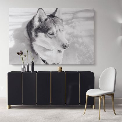 Husky Wolf Black and White Photography Canvas Print Poster Love Wall Art Housewarming Gift Wild Animals Photo Wall Mural Hanging