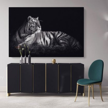 Large Tiger Canvas Black and White Photography Canvas Print Poster Love Wall Art Gift Wild Animals Photo Wall Mural Hanging