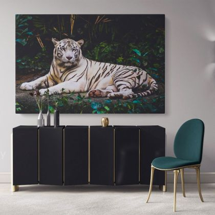 Large White Tiger Canvas Photography Photo Print Poster White Tiger Wild Animals Photo Wall Art Mural Hangings Gift Living Room