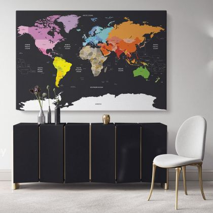 Black Background with Large Bright Colorful WorldMap WallMap Canvas With Frame For Wall Art Canvas