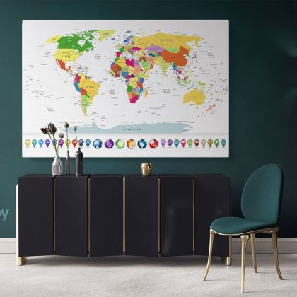 Highly Detailed Political World Map With Globes And Navigation Icons Wall Art World Map Canvas Large Canvas World Atlas For Wall Artwork