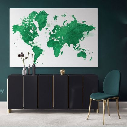 Green Large Bright Color World Map Playroom Wall Map Canvas Wall Art Canvas For Decor Home
