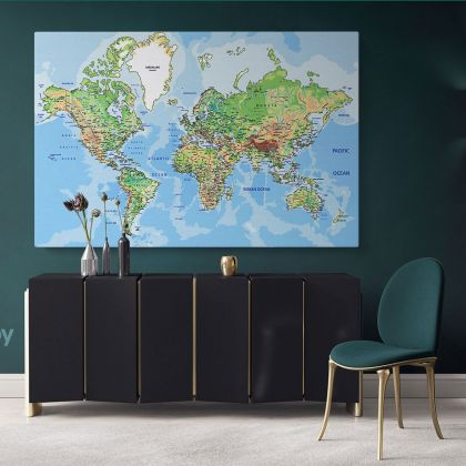 Giant World Map Atlas Geography Political Canvas Print In Different Sizes Blue Ocean Bedroom Living Room For Canvas