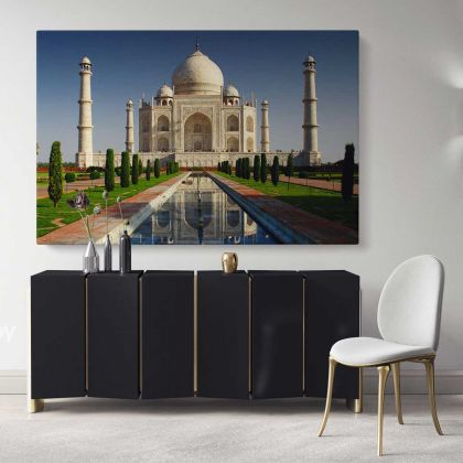 Taj Mahal Canvas with Frame Landscape Wall Art Home Decoration Living Room Bedroom Nursery 7 Wonders of the World Poster Print Mural Gift