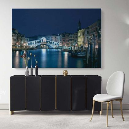 City of Romance Venice Cityscape with Water Wall Art Canvas with Frame Wall Hangings Print Poster Home Decor Living Room Bedroom Mural Gift