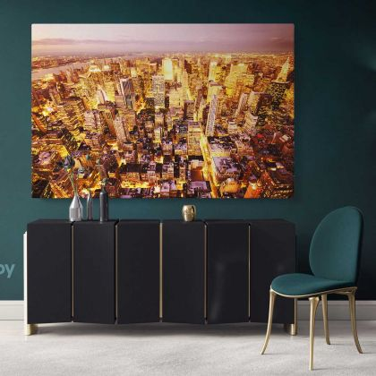 Bright Colourful New York Skyline Cityscape Night View Canvas with Frame Wall Hanging Print Poster Home Decor Living Room Bedroom Mural Gift