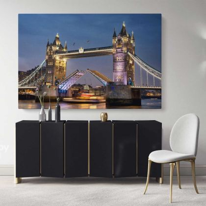 Colourful City London Bridge Bright Night View Landscape Canvas with Frame Wall Art Print Poster Home Decor Living Room Bedroom Mural Gift