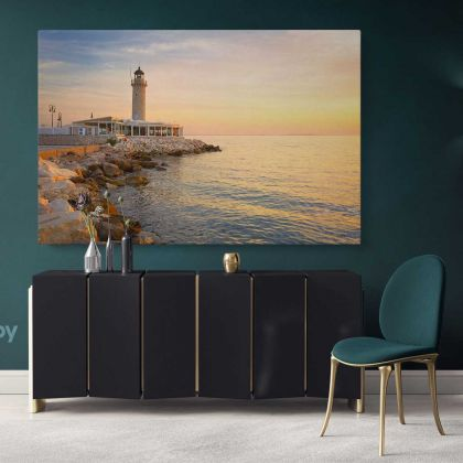 Lighthouse in Patras Greece Landscape Canvas with Frame Greek City Wall Artwork Hangings Print Home Decor Living Room Bedroom Mural Gift