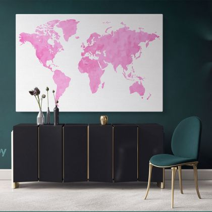 Modern Pinkish Water Color World Map Canvas Print Large Colorful Playroom Wall Map Wall Art Decor for Home