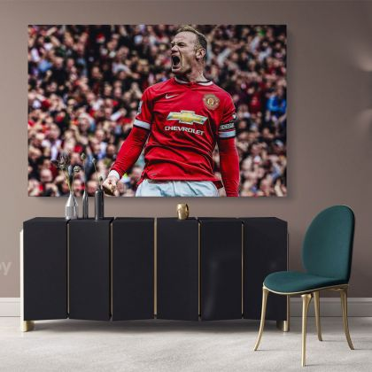 Wayne Rooney Poster Soccer Players Sports Canvas with the Frame/Rolled Canvas Kids Gaming Zone Home Decor Wall Art Mural Hanging Gift Gamer Print