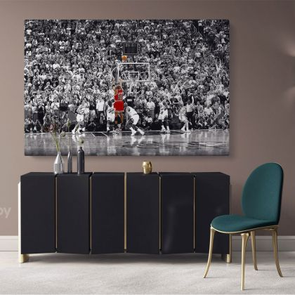 Michael Jordan Last Game Shot Poster Basketball Player Canvas with Frame / Rolled Kids Gaming Zone Wall Art Mural Hangings Gift Print Poster